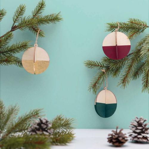 WOODEN 3D BAUBLES, 3 PCS