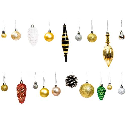 XMAS TREE BAUBLE GOLD/SILVER